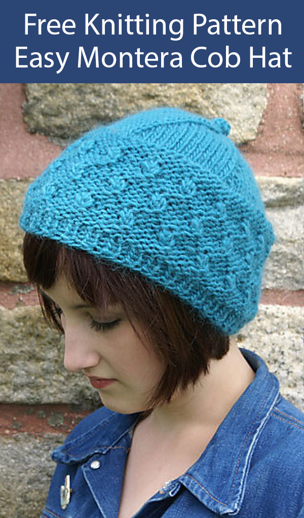 Free Knitting Pattern for Easy Montera Cob Toque Hat