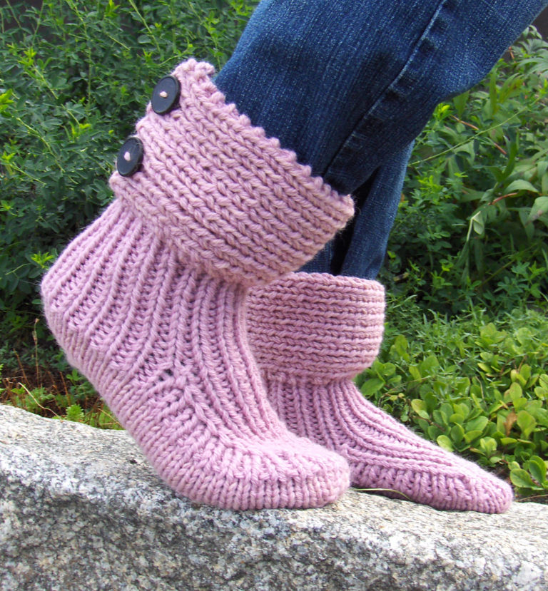 Free Knitting Pattern for Moon Socks Slipper Boots