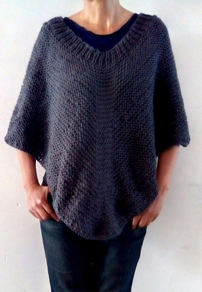 Free Knitting Pattern for Easy Moonlight Poncho