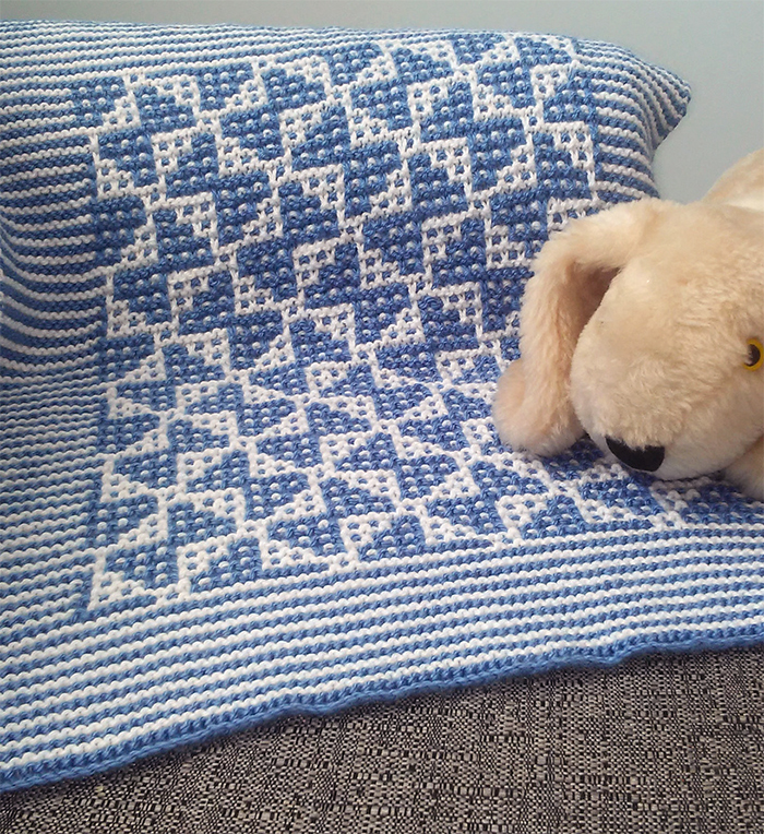 Free Knitting Pattern for Mosaic Butterfly Baby Blanket