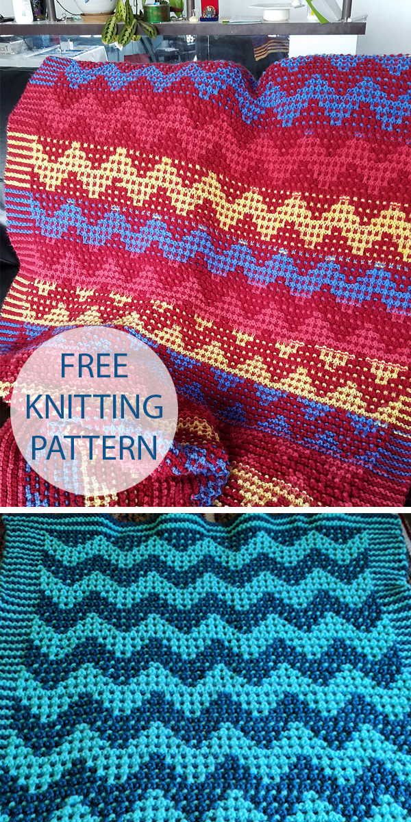 Free Knitting Pattern for Mosaic Chevron Blanket
