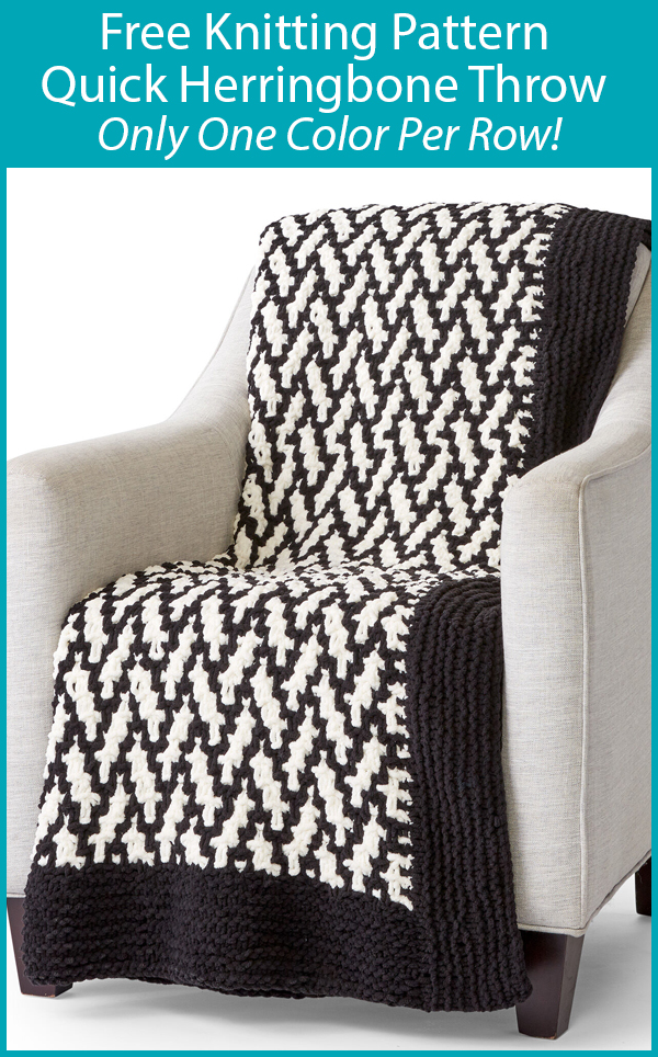 Free Knitting Pattern for Quick Herringbone Throw