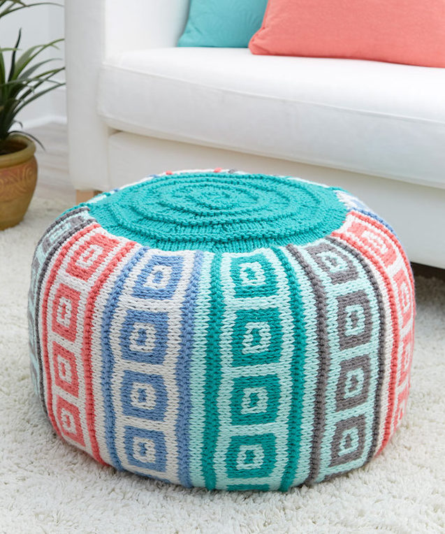 Free Knitting Pattern for Mosaic Squares Pouf