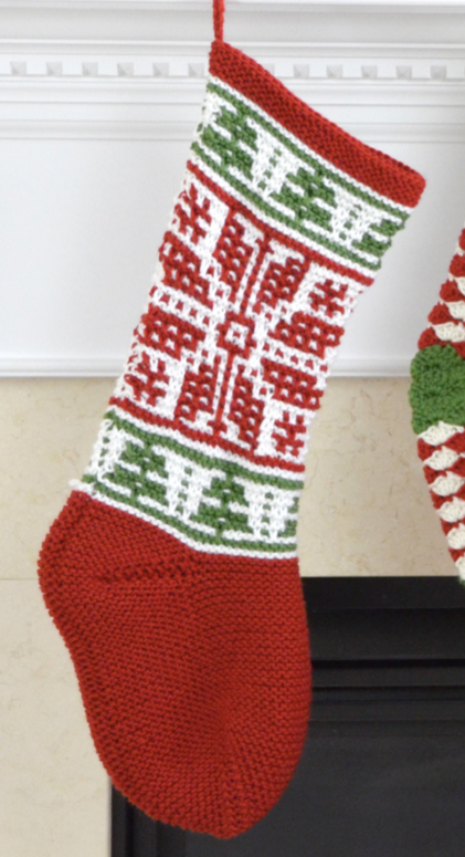 Free Knitting Pattern for Mosaic Stitch Stocking