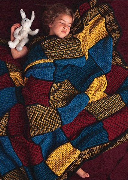 Free Knitting Pattern for Mosaic Tile Afghan