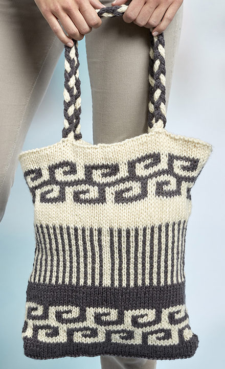 Free Knitting Pattern for Swirls and Stripes Mosaic Bag