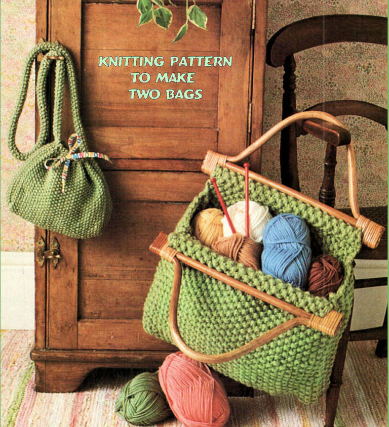 Knitting Pattern for Two Moss Stitch Bags