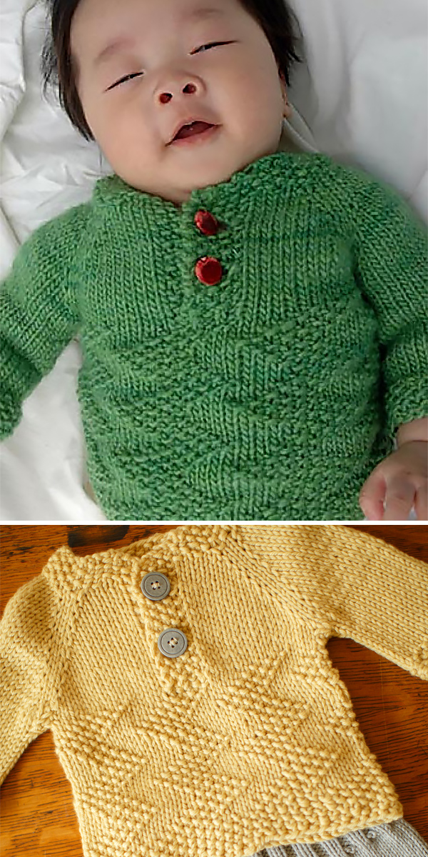 Free Knitting Pattern for Easy Baby Henley Sweater