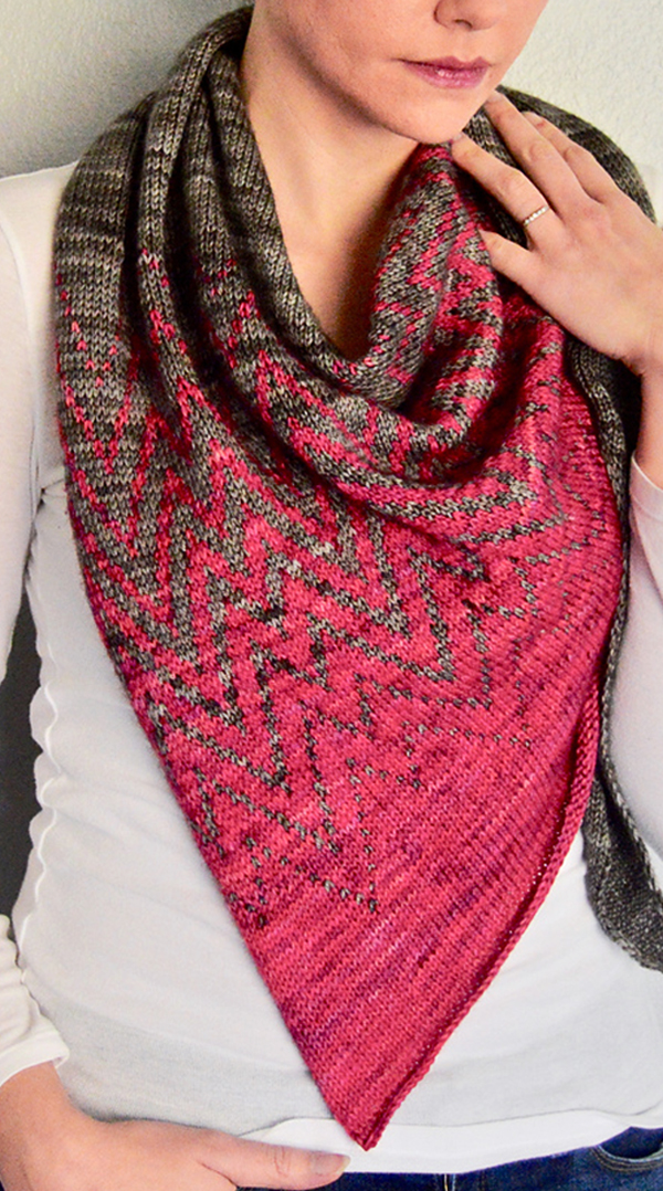 Free until Dec 31, 2019 Knitting Pattern for Mountain Vector Shawl