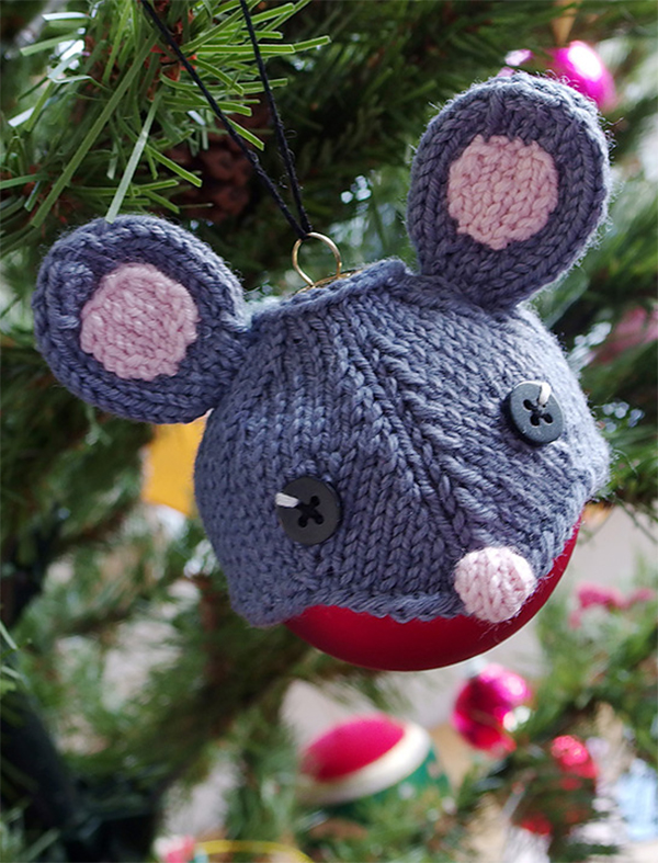 Free Knitting Pattern for Mouse Ornament Hat