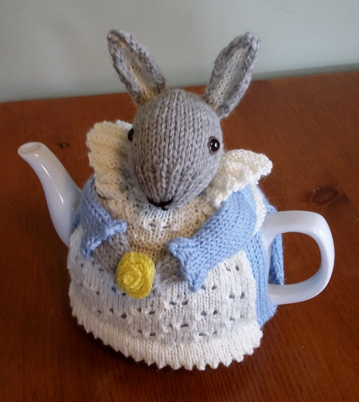Free Knitting Pattern for Mrs. Bunny Rabbit Tea Cozy