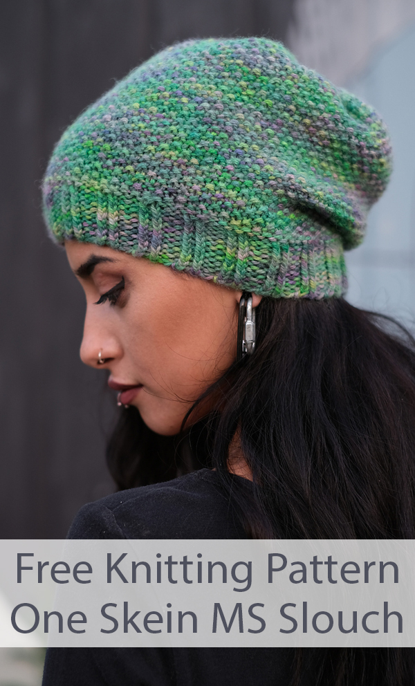 Free Knitting Pattern for 1 Skein MS Slouch Hat