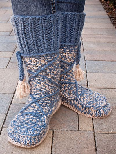 Knitting Pattern Mukluk Boot Style Slippers