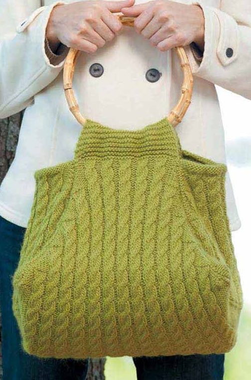 Knitting Pattern for Multi-Cabled Bag