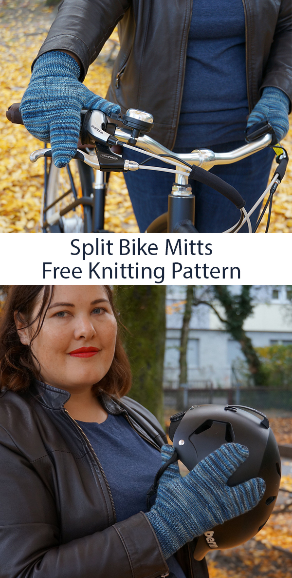 Free Knitting Pattern for Multimodal Split Bike Mitts