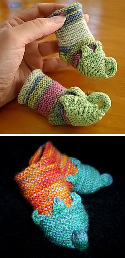 Free Knitting Pattern for Munchkin Slipper Baby Booties