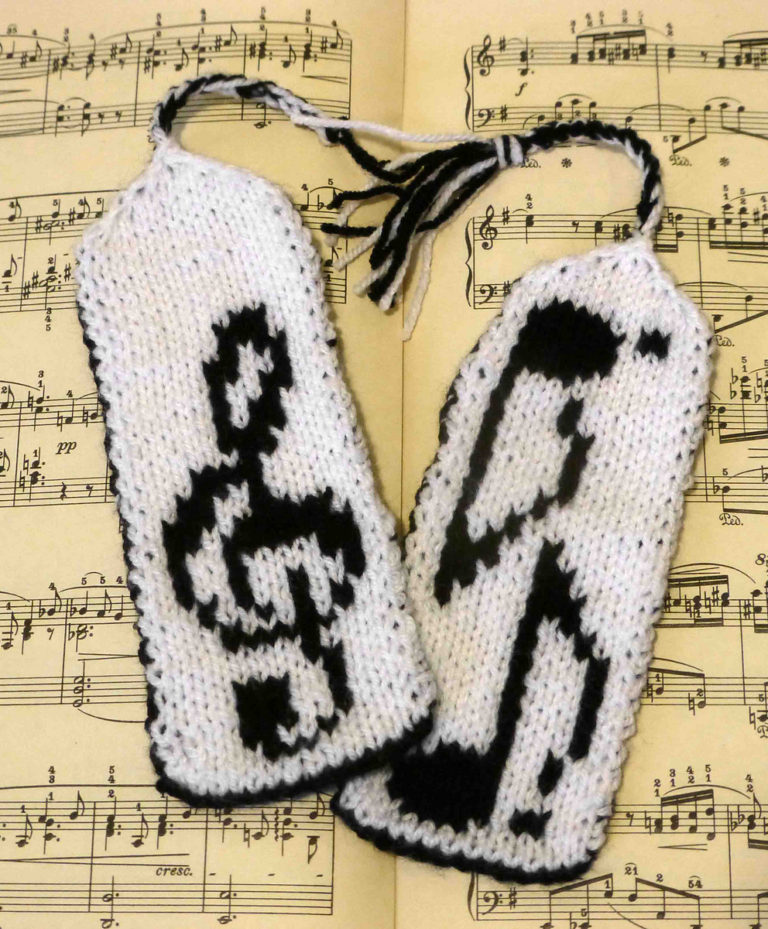 Free Knitting Pattern for Musical Bookmarks
