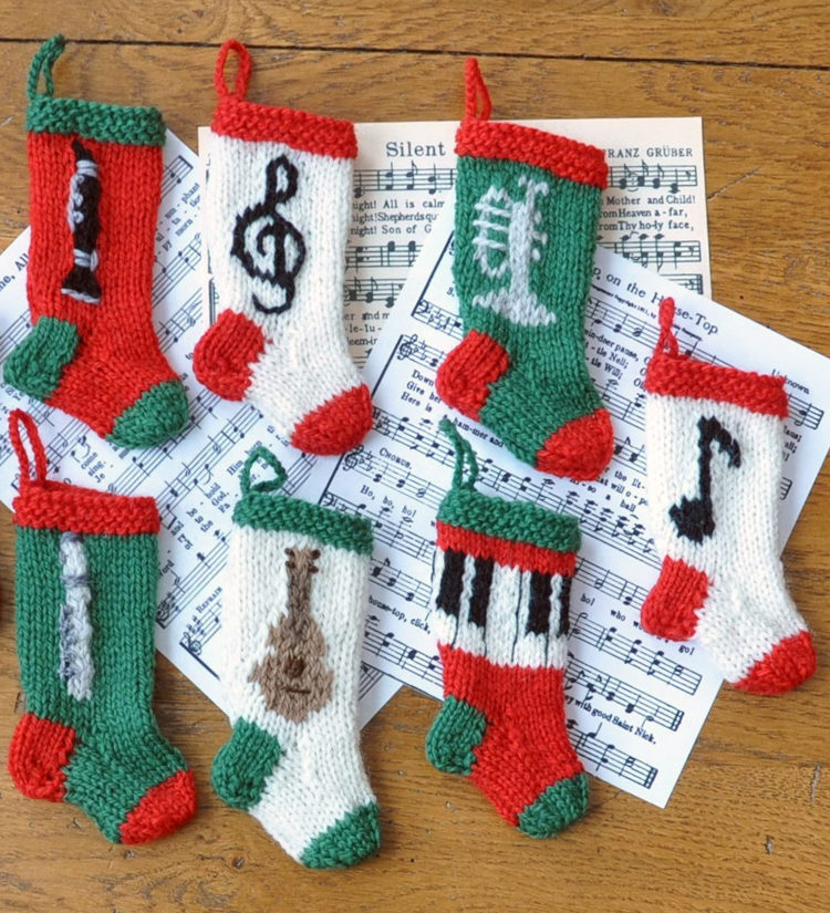 Knitting Pattern for Musical Christmas Stockings