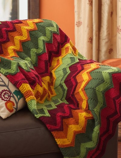 Free knitting pattern for Chevron throw and other Chevron knitting patterns