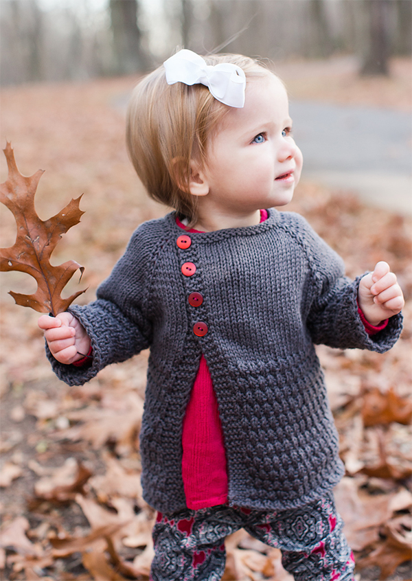 Free Knitting Pattern for Offset Front Baby Cardigan