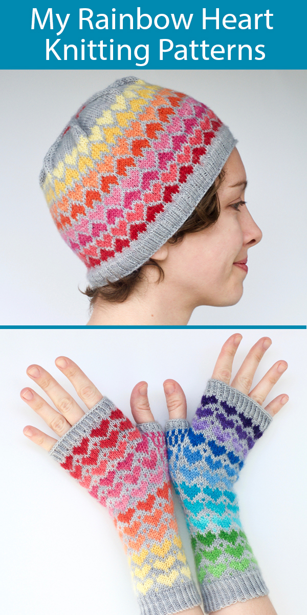 Knitting Patterns for Rainbow Heart Hat or Fingerless Mitts