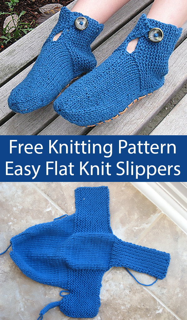 Free Knitting Pattern for Easy Buttoned Slippers Knit Flat