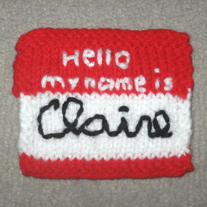 Free Knitting Pattern for Name Tag