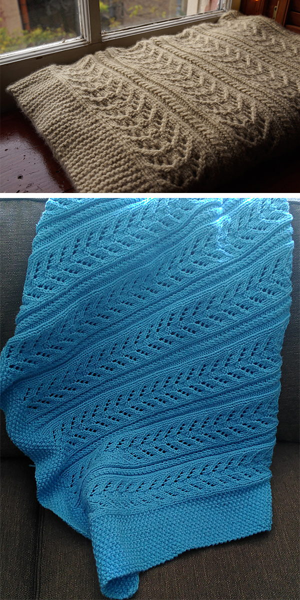 Free Knitting Pattern for 6 Row Repeat Cable and Lace Baby Blanket