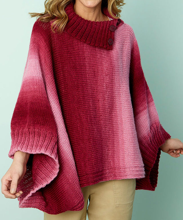 Free Knitting Pattern for Napa Rib Collar Poncho