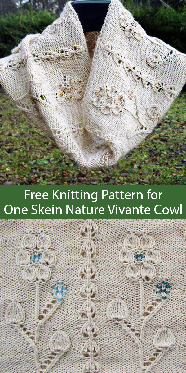 Free Knitting Pattern for One Skein Nature Vivante Cowl