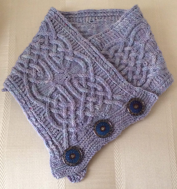 Free Knitting Pattern for Celtic Cross Cowl
