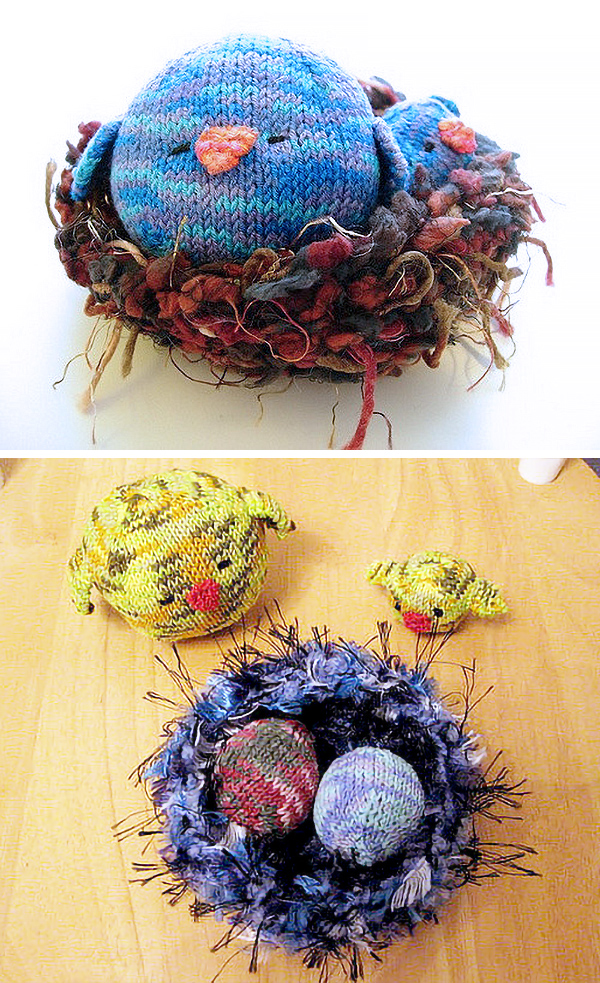 Free Knitting Pattern for Nesting Birds