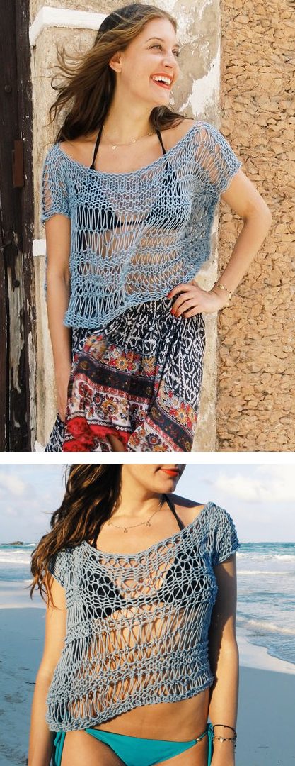 Knitting pattern for Net Beach Cover Up Top