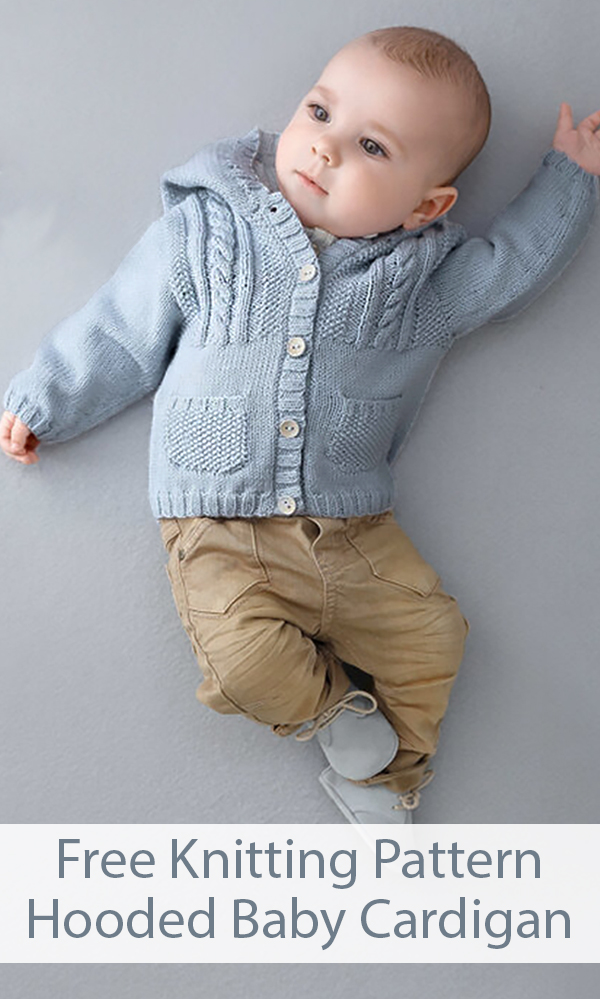 Free Knitting Pattern for Hooded Baby Cardigan Sweater Sizes