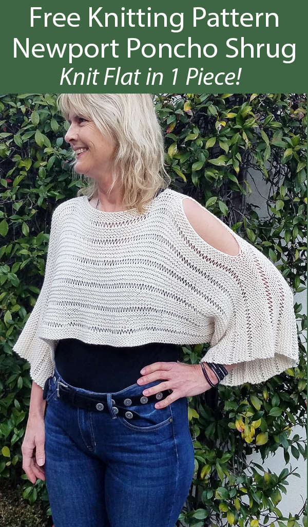 Free Knitting Pattern for Newport Poncho Shrug