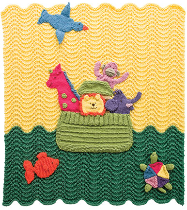 Knitting Pattern for Noah's Ark Baby Blanket