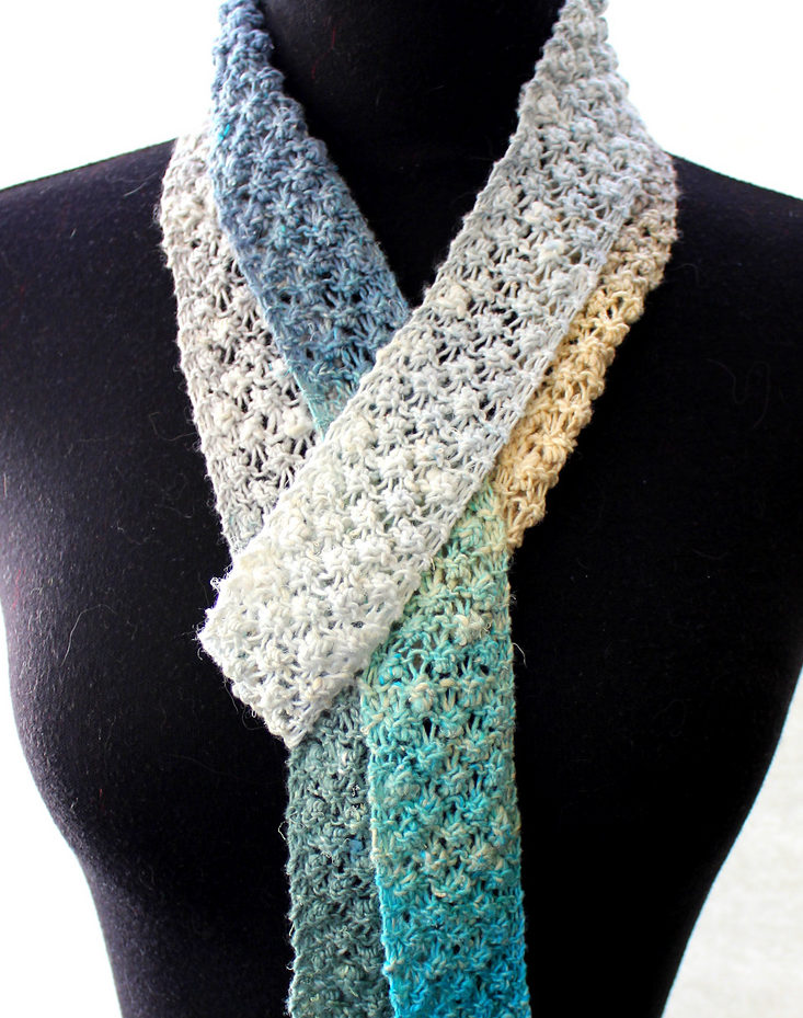 Free Knitting Pattern for 4 Row Repeat Summer Scarf