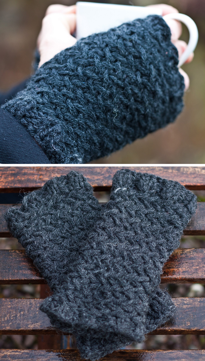 Free Knitting Pattern for North Sea Kippers Herringbone Fingerless Gloves