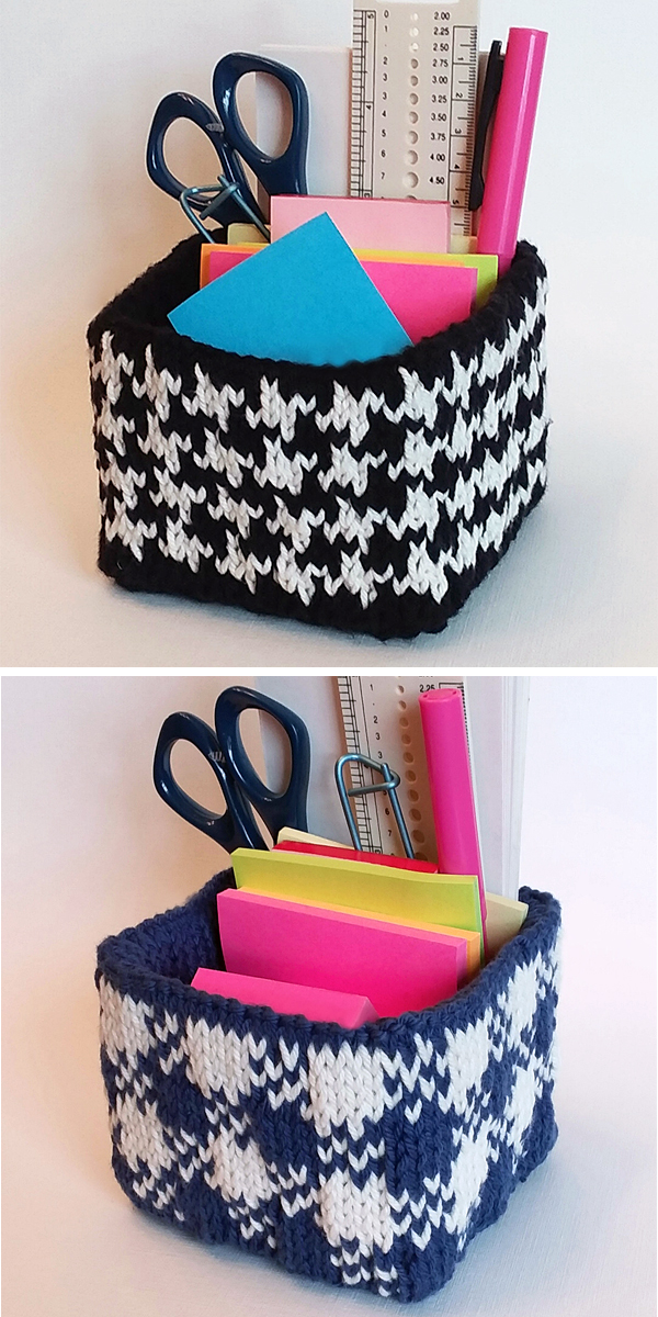 Knitting Pattern for Note Tote Storage Organizer Box