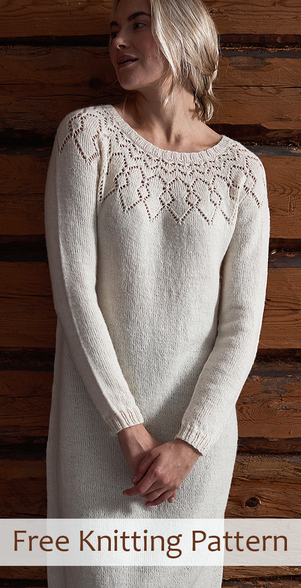 Free knitting pattern for Lace Yoke Dress