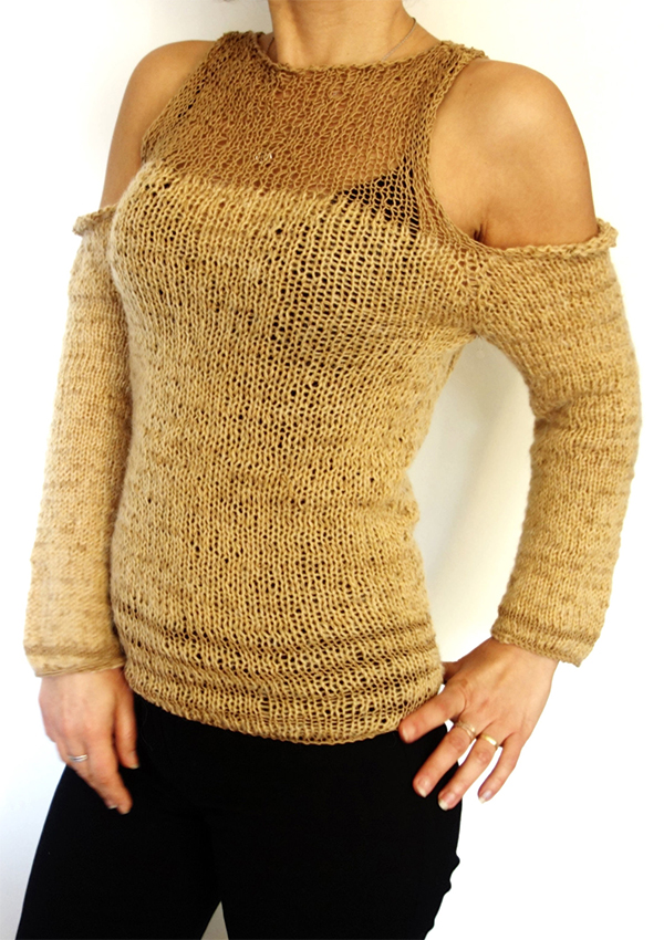 Knitting Pattern for Open Shoulder Pullover
