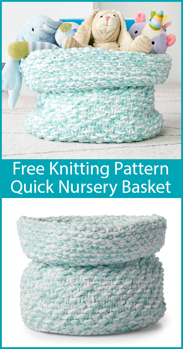Free Knitting Pattern for Nursery Basket