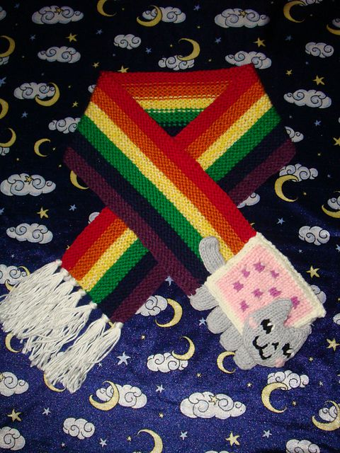 Free knitting pattern for Nyan Cat Scarf and more cat knitting patterns