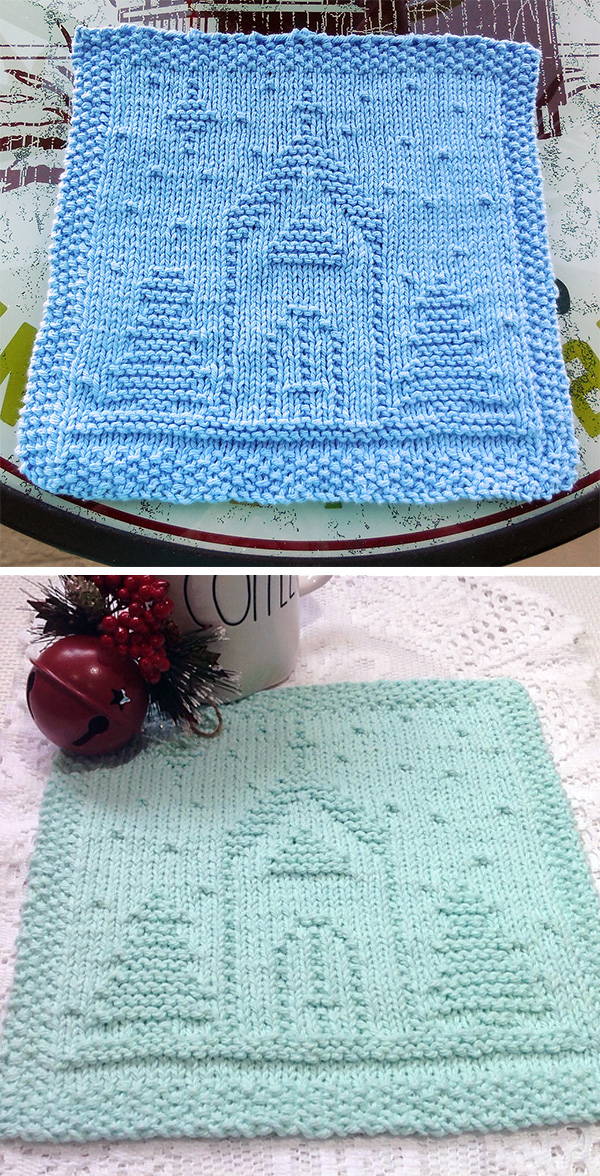 Free knitting pattern for O Holy Night Dishcloth