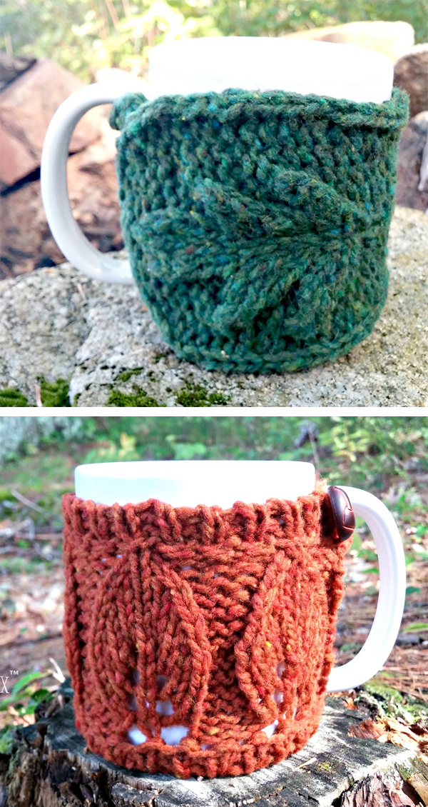 Knitting Pattern Set for Oak and Elm Mug Cozies