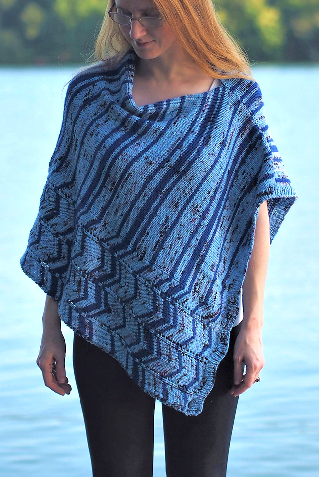 Knitting Pattern for Ocean Current Poncho