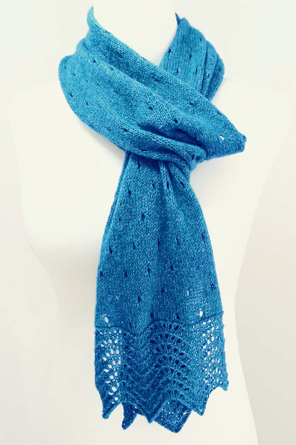 Free Knitting Pattern for Easy Ocean Rain Scarf
