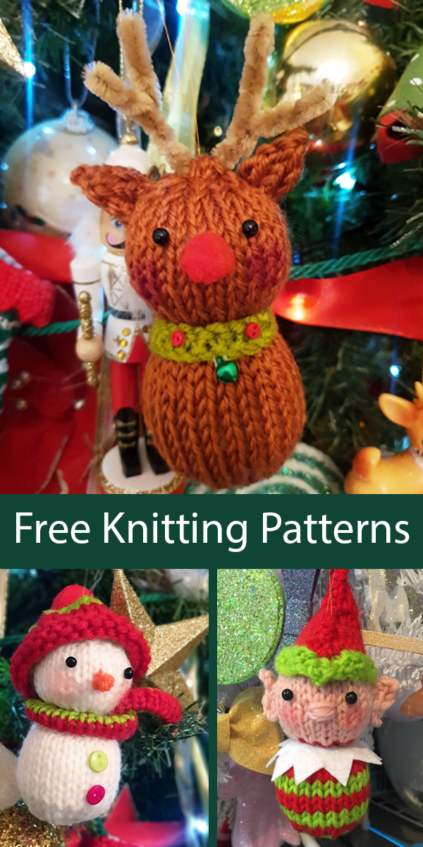 Free Knitting Pattern for Christmas Tree Ornaments Red-Nosed Reindeer, Elf, and Snowman