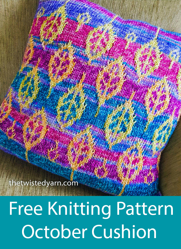 Free Knitting Pattern for October Leaf Motif Cushion