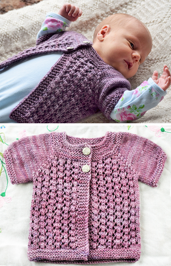 Free Knitting Pattern for Easy Lace Baby Cardigan
